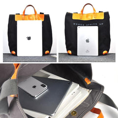 Black Canvas Leather Mens Tote Shoulder Bag Messenger Bag Gray Tote Handbag For Men and Women