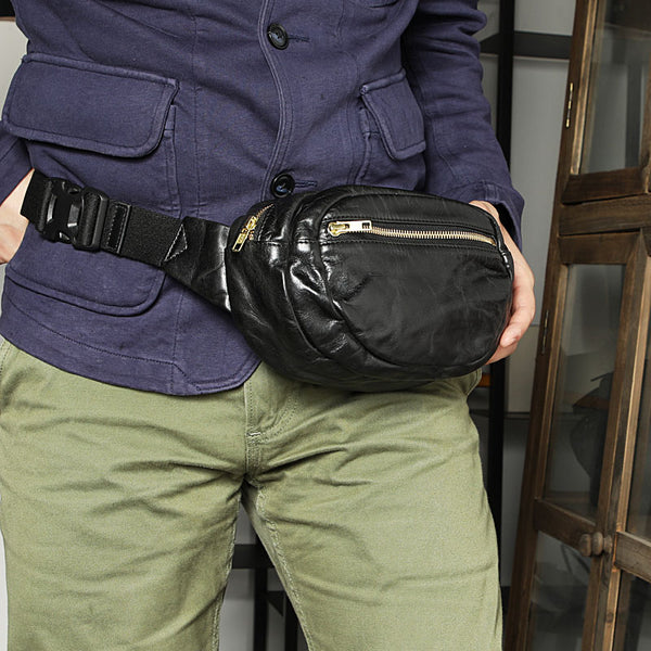 Handmade Distressed Black Leather Men Fanny Pack Waist Bag Hip Pack Belt Bag Bumbag for Men