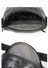 Black Handmade Leather Men Fanny Pack Small Waist Bag Hip Pack Coffee Belt Bag Bumbag for Men