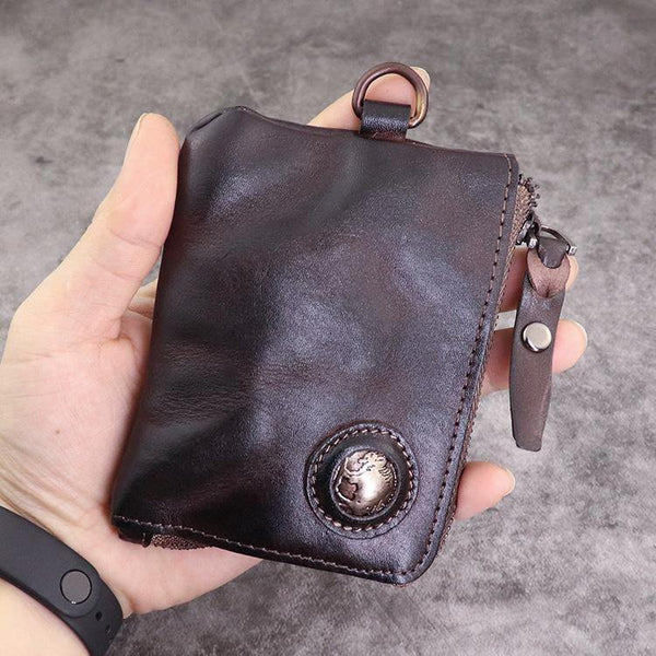 Brown Men Leather Front Pocket Wallets Card Holder Zip Card Holder Wallet For Men