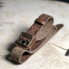Black Washed Denim Leather Double Pins Belt Mens Red Brown Belt Men Brown Belt for Men