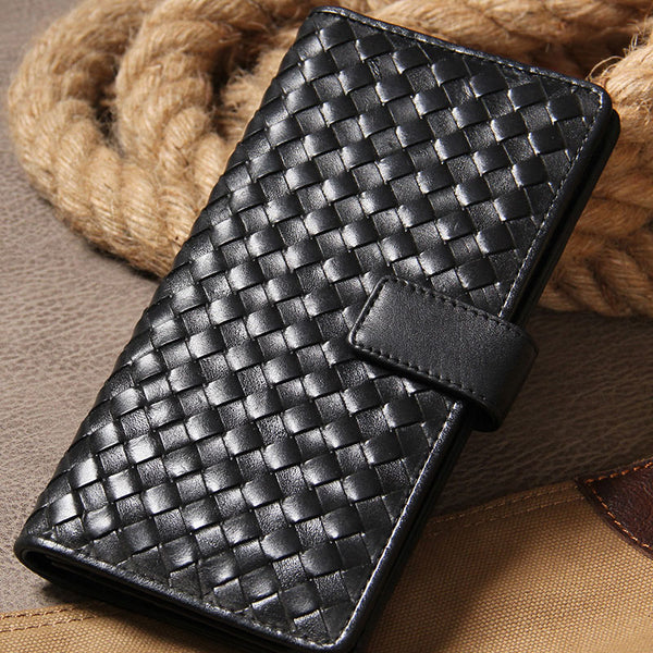 Black Braided Leather Mens Long Leather Wallet Bifold Wallet for Men