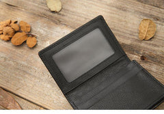 Black Braided Leather Mens Small Wallets Bifold Slim Front Pocket Wallet Card Holder for Men