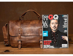 Brown Leather Mens 13 inches Briefcase Laptop Postman Bag Black Side Bag Courier Bag for Men