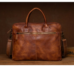 Vintage Brown Leather Mens 15 inches Briefcase Laptop Black HandBag Business Side Bag Work Bag for Men