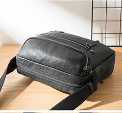 Casual Black Leather Mens 10 inches Postman Bag Black Courier Bag Messenger Bags Side Bag for Men