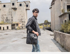 Black Casual Leather Mens 10 inches Vertical Briefcase Side Bags Postman Bag Black Work Bag Courier Bag for Men