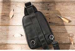Casual Black Leather Mens Sling Bag Black Sling Pack One Shoulder Backpack for Men