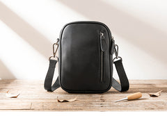 Black Leather Mens 8 inches Small Vertical Side Bag Black Messenger Bags Postman Bag Courier Bag for Men