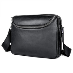 Black Cool Leather 10 inches Large Zipper Messenger Bag Handbag Shoulder Bag For Men