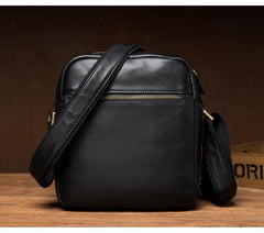 Cool Black Leather Small Courier Bags Brown Vertical Messenger Bag Postman Bag for Men