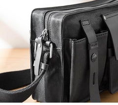 Black Cool Leather Mens 10inches Courier Bag Postman Bag Black Messenger Bags Side Bag for Men