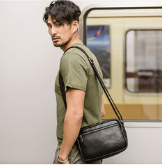 Black Cool Leather Mens Courier bag 10 inches Dark Green Side Bags Messenger Bags for Men