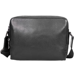 Black Cool Leather Mens 10 inches Side Bag Postman Bag Black Black Messenger Bags Courier Bag for Men
