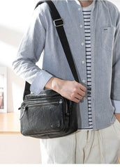 Black Cool Leather Mens 10 inches Courier Bag Postman Bag Black Messenger Bags Side Bag for Men