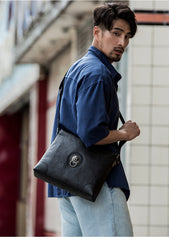 Black Cool Leather Mens 10 inches Vertical Courier Bag Postman Bag Black Cross Messenger Bags Side Bag for Men