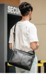 Fashion Black Leather Mens 12 inches Side Bag Messenger Bags Black Postman Bag Courier Bag for Men