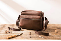 Black Cool Leather Mens Small Postman Bag Brown Messenger Bags Courier Bag for Men