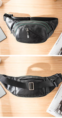 Cool Black Leather Mens Chest Bag Waist Bag Sling Bags Black Fanny Pack for Men
