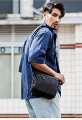 Black Cool Leather Mens Side Bag Postman Bag Small Black Messenger Bags Courier Bag for Men