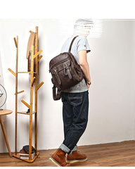 Coffee Cool Leather Mens School Backpack College Backpack 14'' Computer Backpack For Men