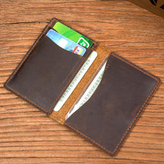 Black Cool Leather Mens Brown Driver's License Wallet Card Wallet Bifold Thin Card Holder For Men