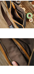 Cool Canvas Leather Mens Chest Bag Green Waist Bag Fanny Pack Hip Bag Bum Pack For Men