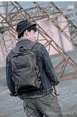 Black Cool Leather Mens School Backpack College Backpack 15