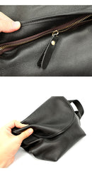 Black Cool Leather Mens Small Postman Bag Messenger Bag Black Courier Bag For Men