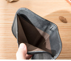Black Leather Mens Slim Wallet Small Wallet Front Pocket Wallet Black Bifold Billfold Wallet billfold Wallet for Men
