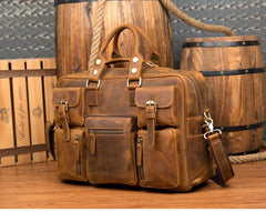 Black Cool Leather Mens Weekender Bag Shoulder Travel Briefcase Duffle Bag Light Brown luggage Bag for Men