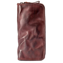 Black Cool Mens Leather long Wallet Brown Leather Zipper Wallet Long Wallets Clutch for Men