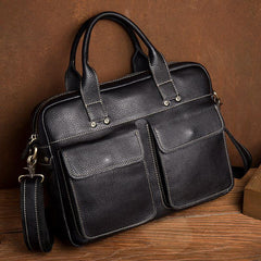 Black Leather Mens 13 inches Vertical Briefcase Laptop Shoulder Bag Coffee Business Work Bag for Men