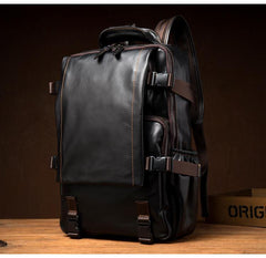 Black Fashion Mens Leather 14-inch Computer Backpacks Cool Travel Backpack School Backpack for men