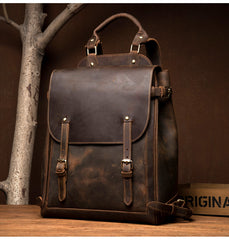 Black Fashion Mens Leather 15-inch Computer Backpack Brown Satchel Backpack School Backpacks for men