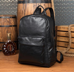 Cool Black Mens Leather 15inches Computer Backpack Fashion Travel Backpack School Backpack for men