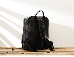 Black Fashion Mens Leather 15-inch Large Business Computer Backpacks Travel Backpacks Black College Backpack for men