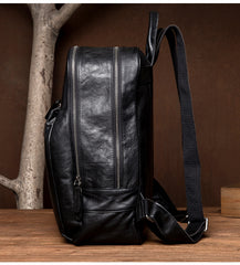 Fashion Black Mens Leather 15-inches Computer Backpack Black Travel Backpacks School Backpacks for men