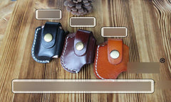 Handmade Mens Black Leather Standard Zippo Lighter Cases Zippo Lighter Holder with Belt Loop