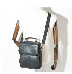 Black Leather Mens Vertical Small Briefcase Work Handbag Side Bag Business Shoulder Bag for Men