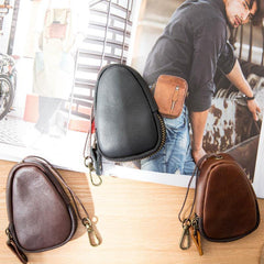 Black Leather Mens Small Car Key Wallet Brown Key Holder Coin Purse For Men