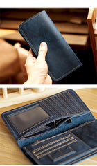 Black Handmade Tan Leather Mens Long Wallet Bifold Green Long Wallet For Men