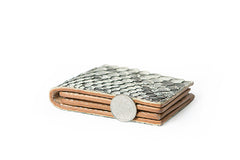 White Handmade Leather Bifold Mens Snakeskin Short Wallet Bifold Small Wallet For Men