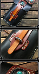 Handmade Black Leather Waist Bag Belt Pouch Belt Small Messenger Bag Side Bags For Men