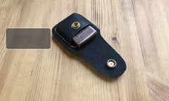 Handmade Mens Black Leather Classic Zippo Lighter Case Belt Zippo Lighter Holder with Belt Clip