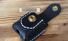 Mens Black Leather Classic Zippo Lighter Cases Handmade Zippo Lighter Holder with Belt Loop