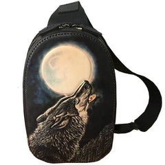 Black Handmade Tooled Leather Sling Bag Chest Bag Wolf One Shoulder Backpack For Men