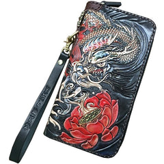 Black Handmade Carp Toad Tooled Leather Long Biker Wallet Black Chain Wallet Clutch Wallet For Men