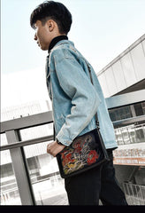 Handmade Black Tooled Dragon Carp Leather Clutch Wristlet Bag Messenger Bag Side Bag For Men