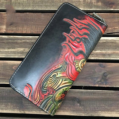 Handmade Black Mahākāla Wolf Tooled Leather Long Wallet Clutch Zipper Wallet For Men